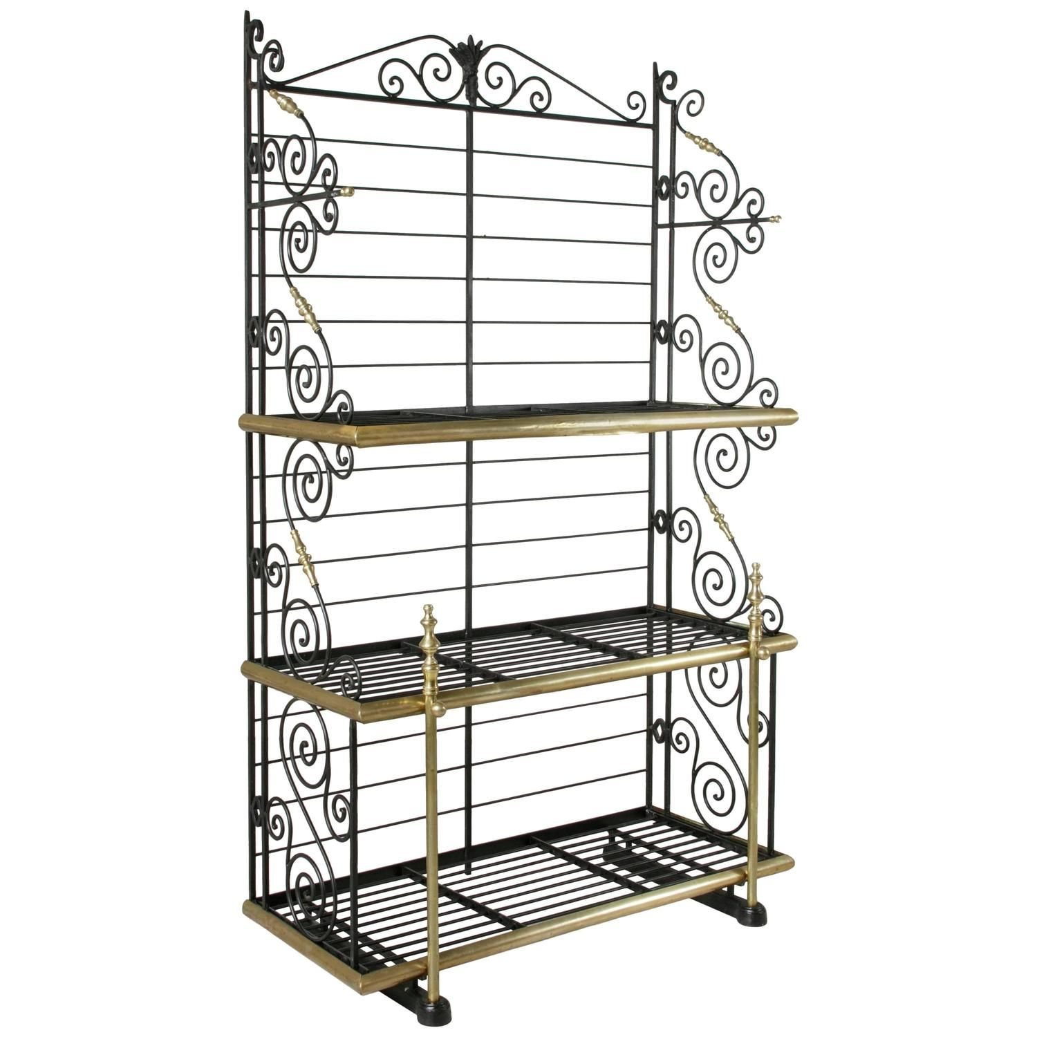 Early 20th Century French Iron And Brass Baker S Rack Bread Rack
