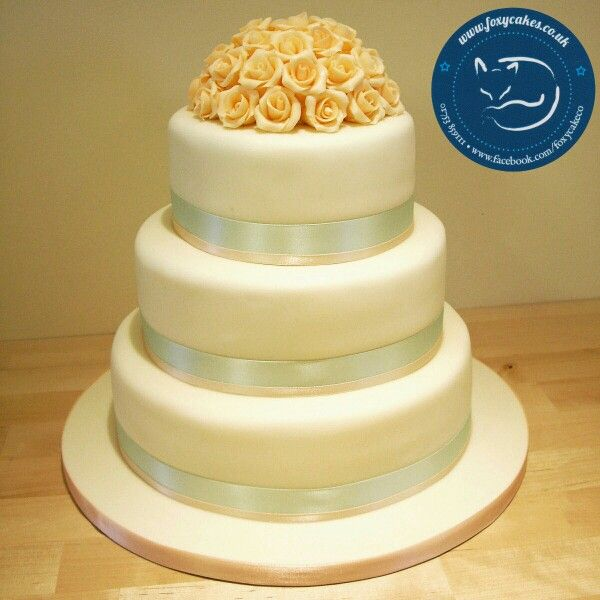 Peach And Pale Mint Green 3 Tier Cake With A Lovely Rose Posy ...