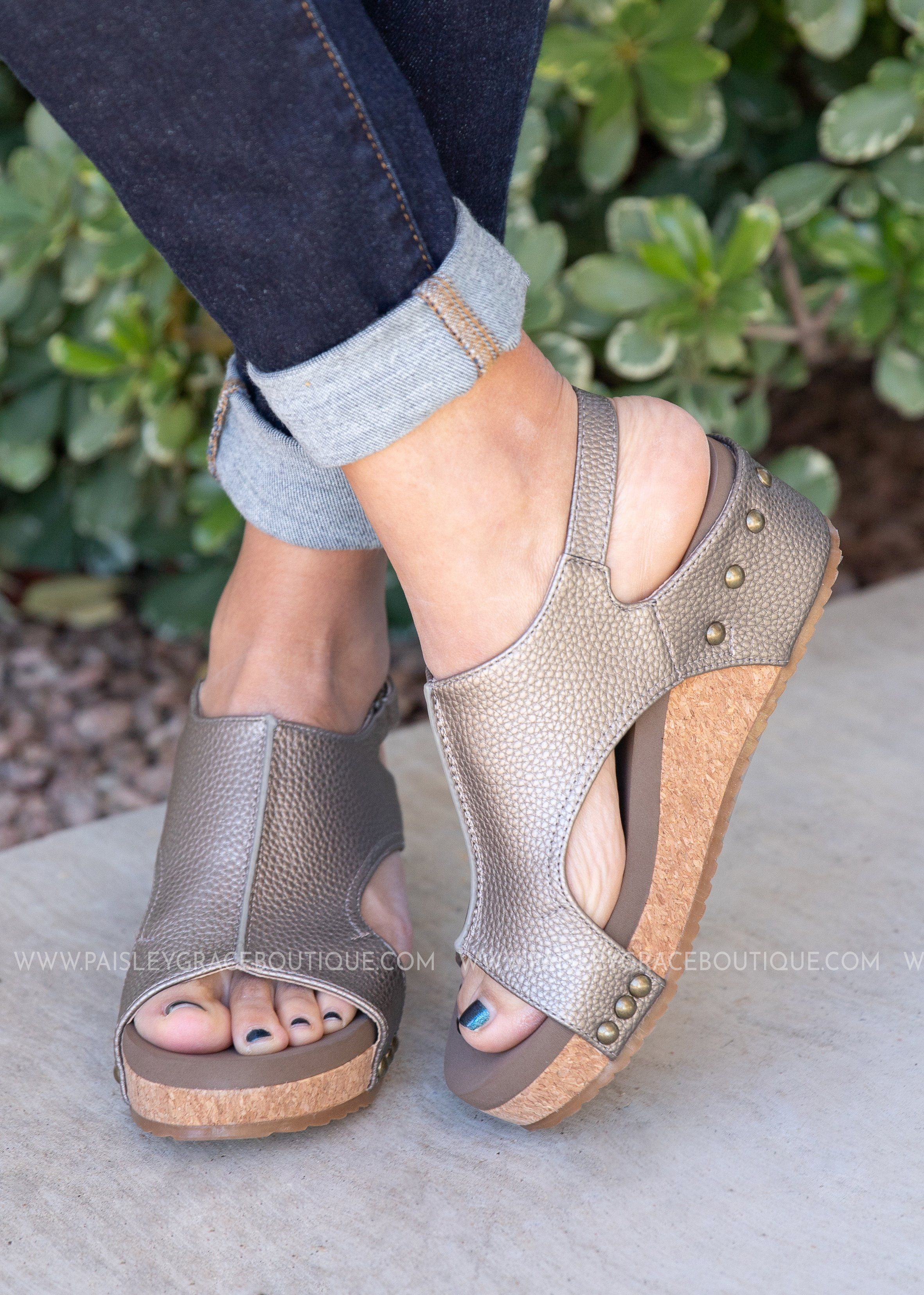 ae38ca90ab3 Volta Wedge Sandal by Corkys-PEWTER-RESTOCK in 2019 | Products ...
