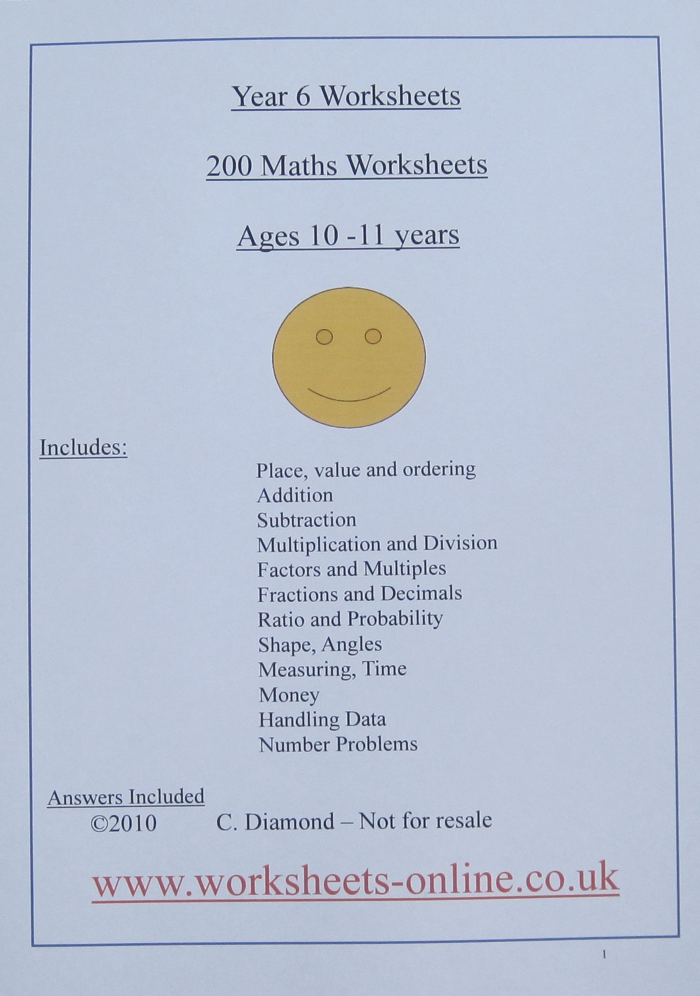 Maths Worksheets For Children Aged 9 10 Or 11 With