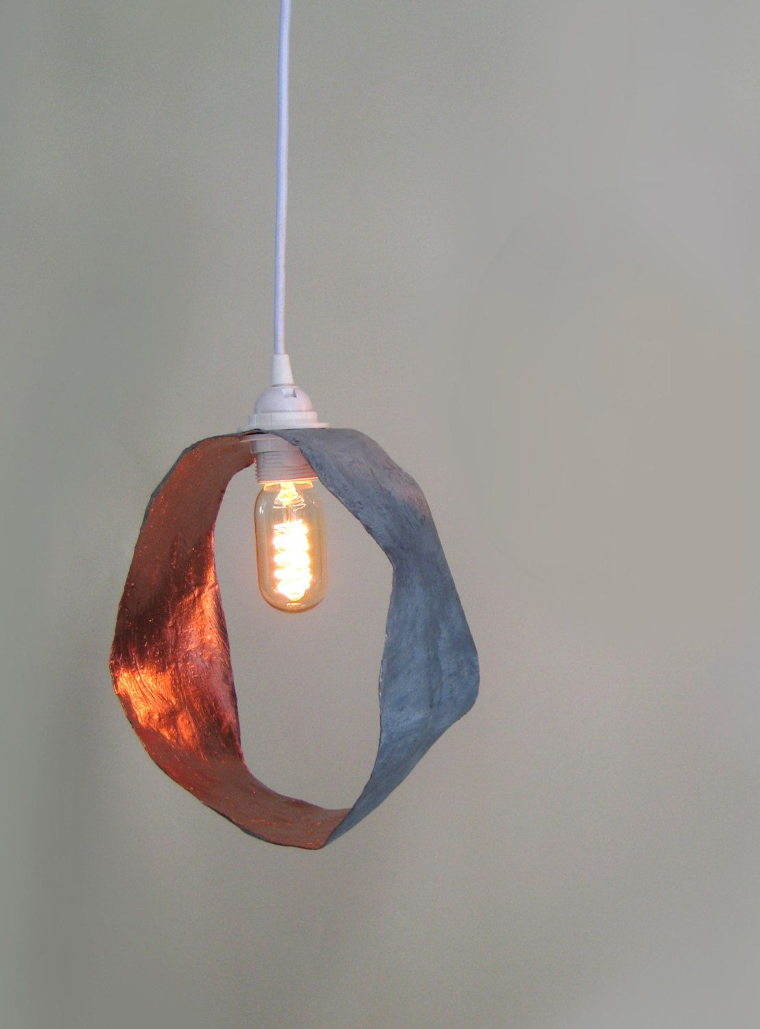 Eco friendly paper mache loop plug in pendant light grey copper eco friendly paper mache loop plug in pendant light grey copper lamp shade white braided fabric cord 3 core wire e27 lamp holder by fatroo on e arubaitofo Images