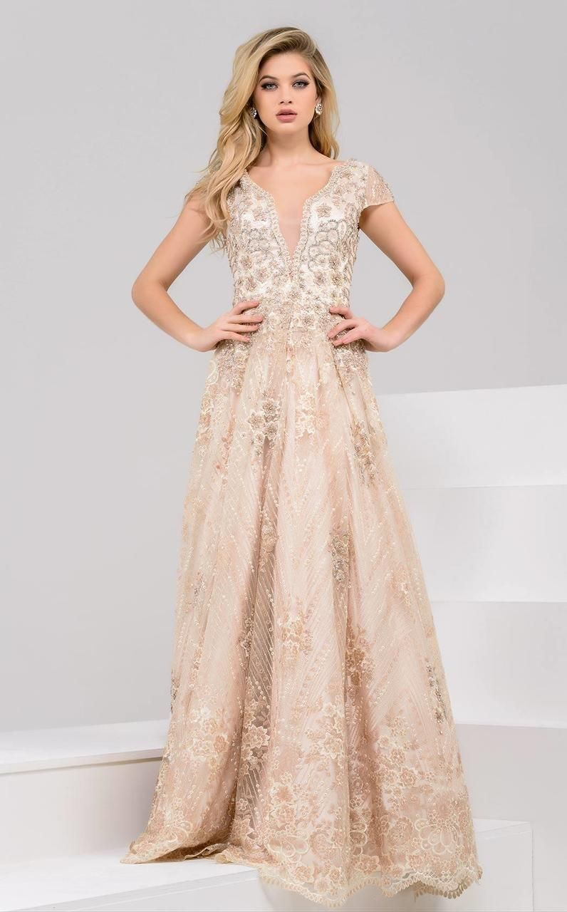 d66b1aeaa81 Jovani - 48943 Gilded Lace Evening Gown in 2018