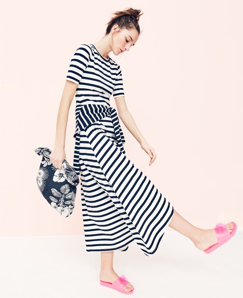 f80938ef2 J. Crew Striped Knit Maxi Dress, Canvas Tote in Palm Tree and Pink Blossom  Pool Slides