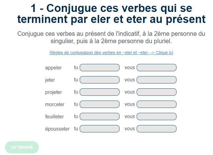 Exercice De Conjugaison Les Verbes En Eler Et Eter Au Present Verbe Exercices Conjugaison Conjugaison