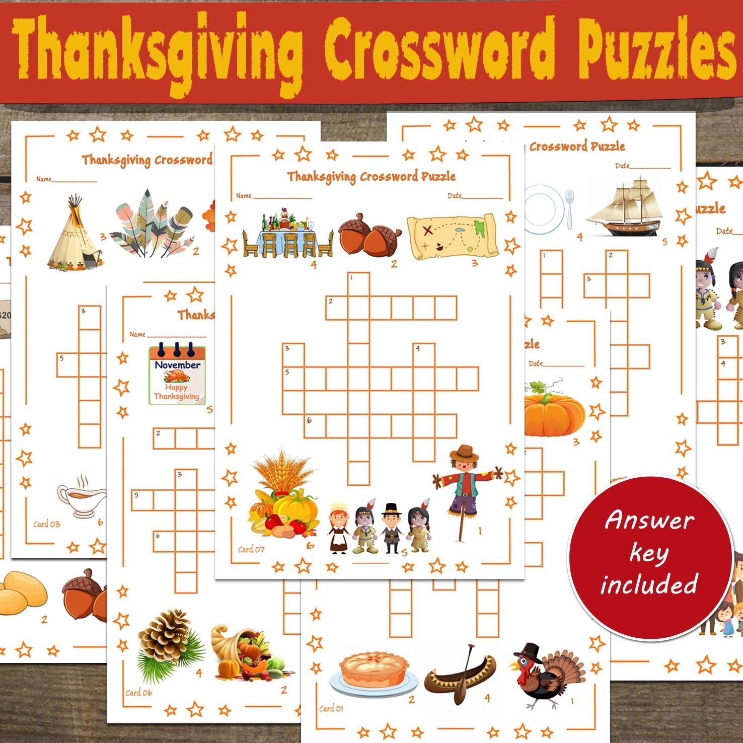 Thanksgiving Crossword Puzzles Thanksgiving Activities