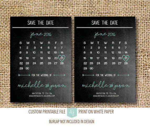 Chalkboard Calendar Save the DateDigital by AestheticJourneys
