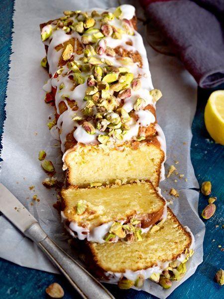 Zitronen-Mascarpone-Kuchen mit Zuckerguss und gesalzenen Pistazien #quickcookies