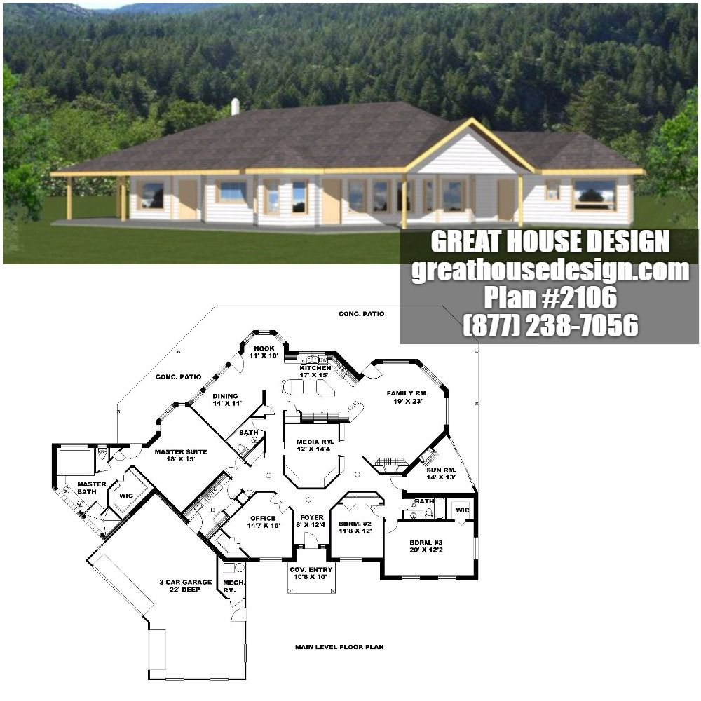 One-Story ICF House Plan # 2106 Toll Free: (877) 238-7056 ... on simple cinder block house plans, earth berm concrete house plans, modern ranch house plans, custom 2 story house plans, two story house plans, open-concept ranch house plans, small concrete block house plans, concrete block ranch house plans, simple concrete block house plans, icf homes after a tornado, open ranch style house plans, narrow lot ranch house plans, u-shaped house plans, unique ranch house plans, walkout basement house plans, raised ranch floor plans, icf house plans, raised ranch house plans, insulated concrete form house plans, icf barn plans,
