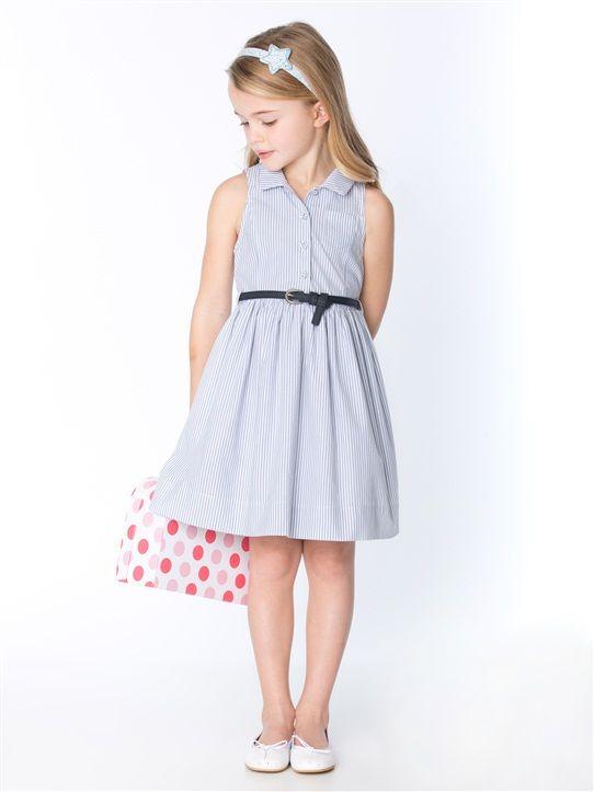 m dchen kleid rmellos blau weiss gestreift blau bedruckt kinderkleidung kleider kleidung. Black Bedroom Furniture Sets. Home Design Ideas