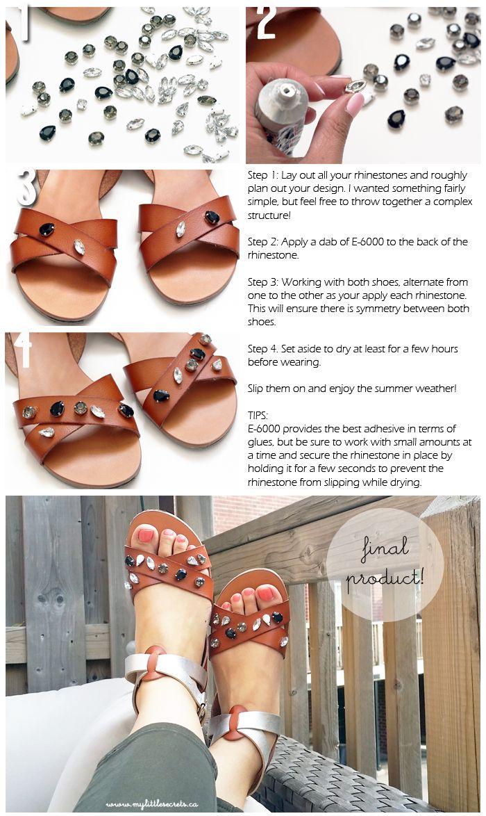 DIY: basic jeweled sandals