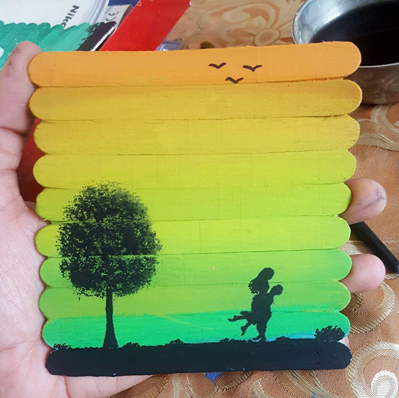 Scenic beauty | ice cream stick painting art | Pinterest | Stick art ...