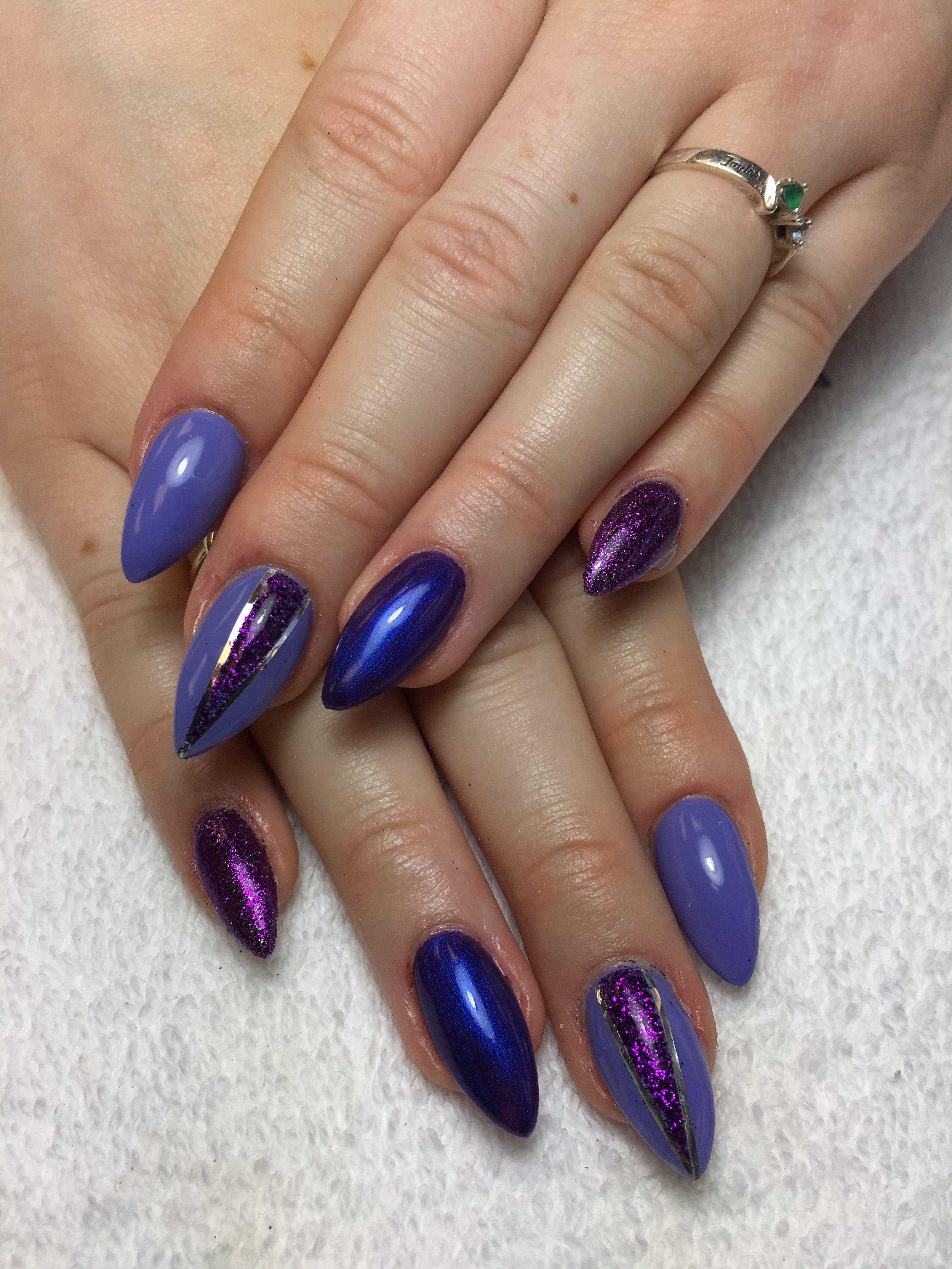 Stiletto nails, long nails, purple, glitter nails, gel nails | Nails ...