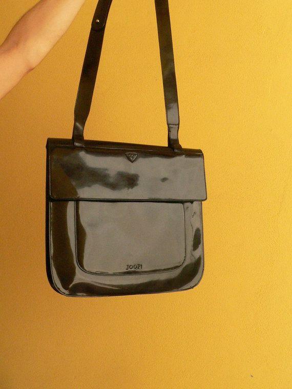Joop Vintage Leather Bag Patent Black By Soulsisters16
