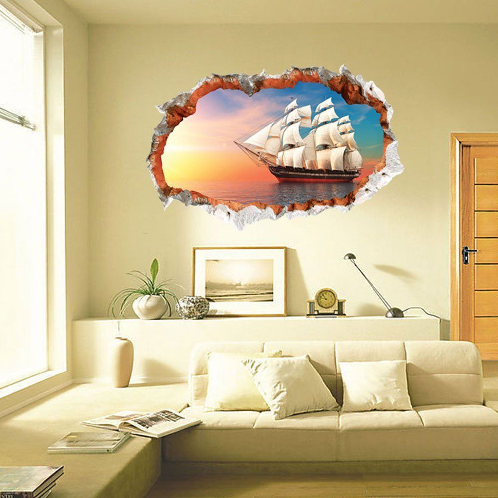 Boodecal 3d Visual Broken Wall Brick Hole View Decals Sailing on the ...