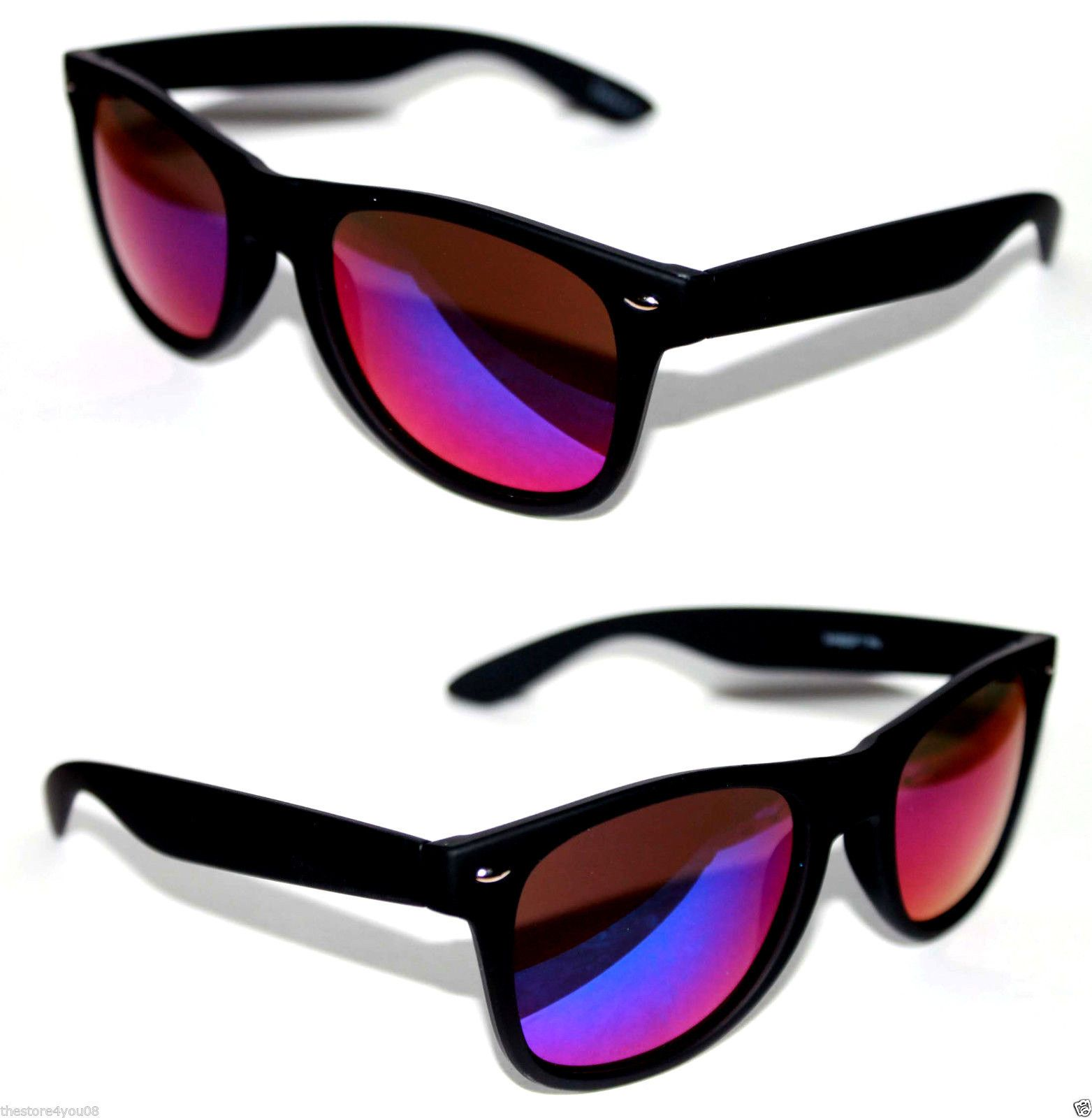 190c65722e98bd Wayfarer Sunglasses Rubber Matte Black Frame Blue Purple Mirrored Lens  Retro 30