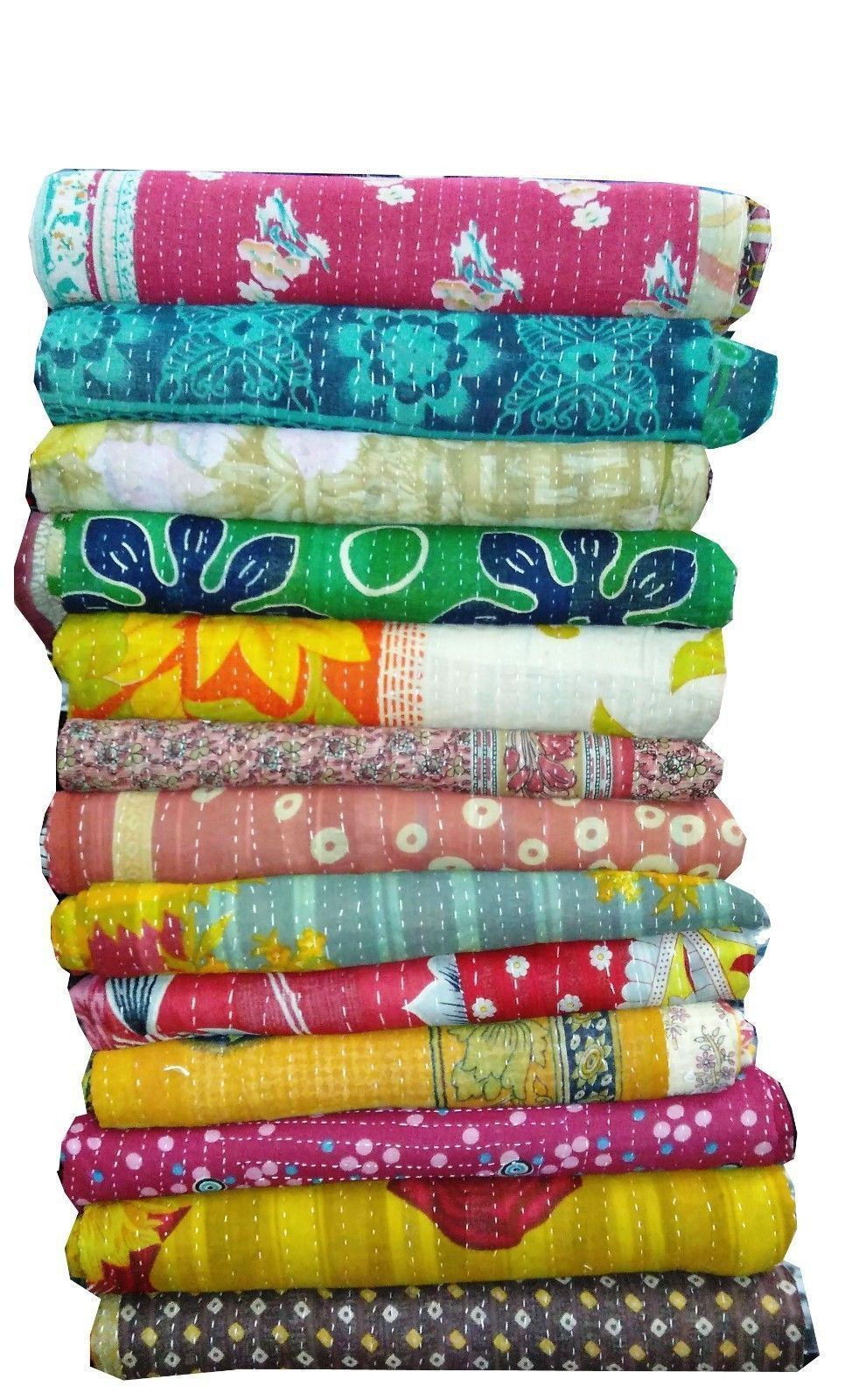 Indian Kantha Vintage Blanket Throw Quilt Hippy Bohemian Bedspread Whole Sale