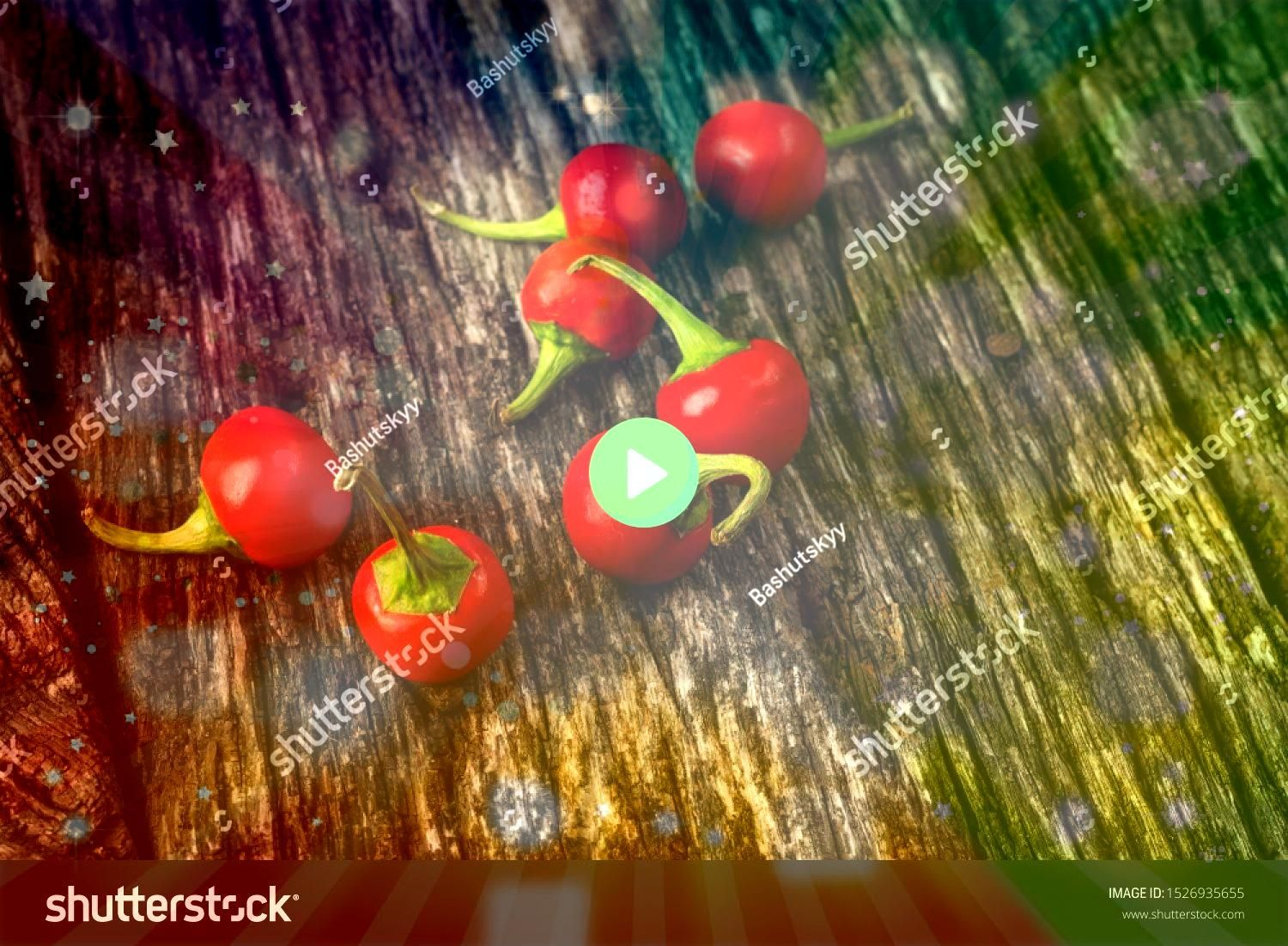 and drink still life concept Raw chilli peppers on a rustic wooden table Selective focus top view flat lay overhead Food and drink still life concept Raw chilli peppers o...