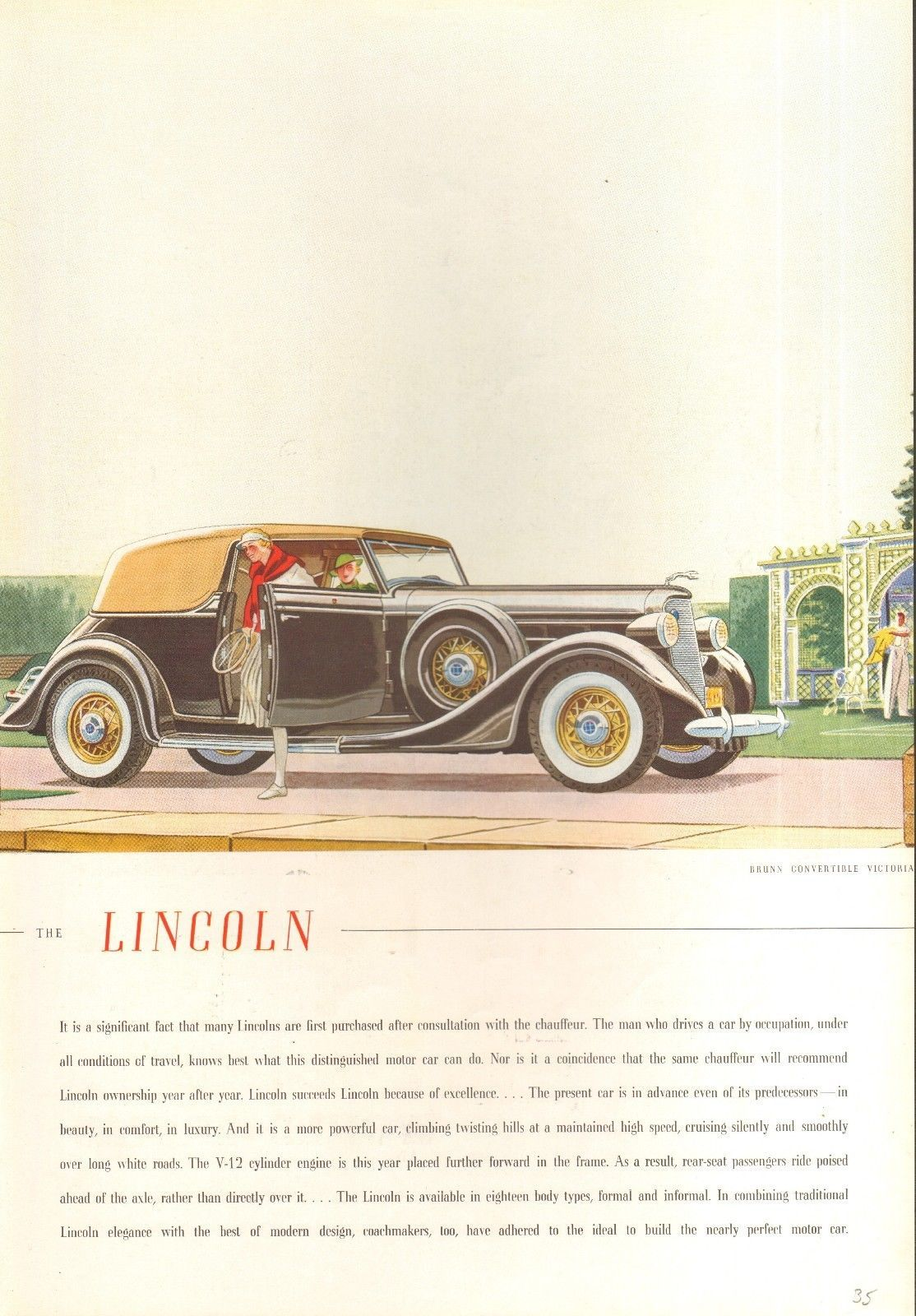 1935 Lincoln Brunn Convertible Victoria Brown Tan Original Vintage ...