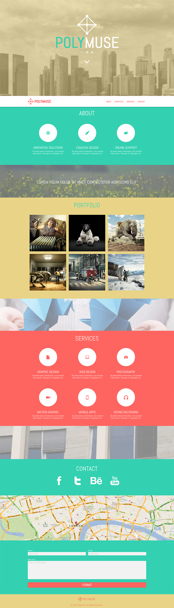 Polymuse One Page Parallax Muse Template By Pixelladyart Web