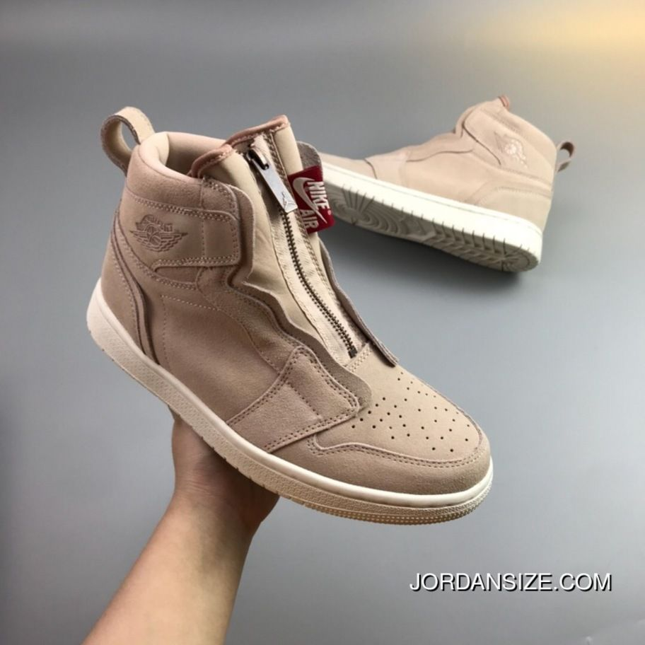 59d93ce9cb4ce6 Nike Air Jordan 1 High Zip Particle Beige AQ3742-205 Particle Beige Sail  Metallic Red Bronze Sports Basketball Shoes Copuon
