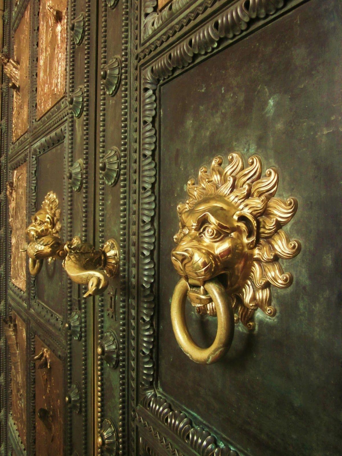 Antique brass front door knobs  Door knob and Lion door knockers  Doors and details  Pinterest
