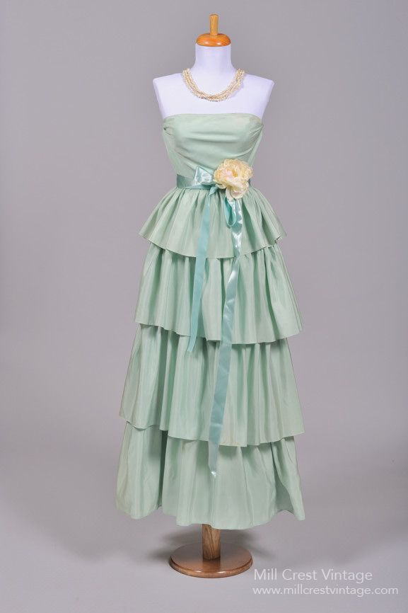 1970 Mint Green Vintage Party Dress : Mill Crest Vintage | Jade ...