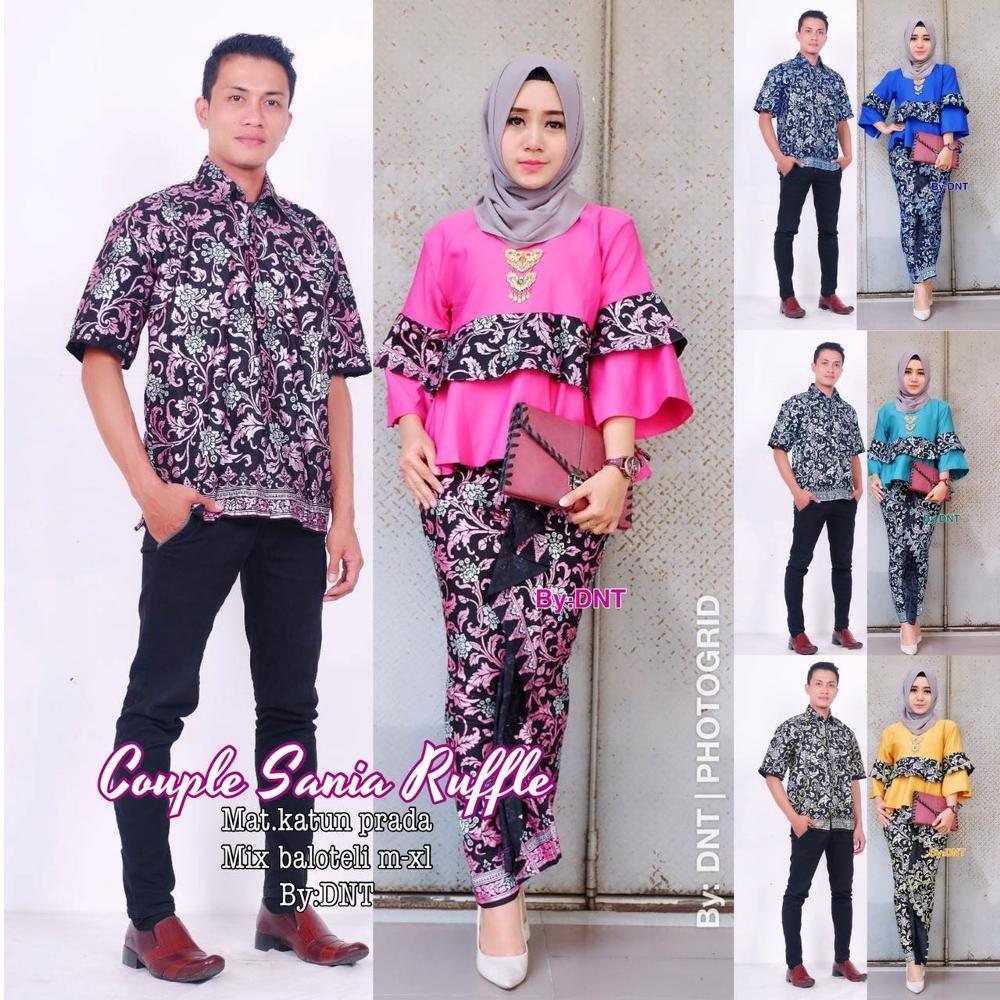 Setelan Model Baju Batik Couple Sarimbit Sania Ruffle  0f7eba7c92