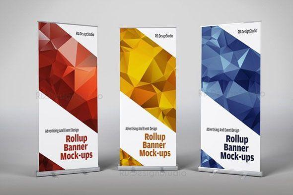 Roll Up Banner Mock Ups Rollup Banner Banner Template Design Banner Design