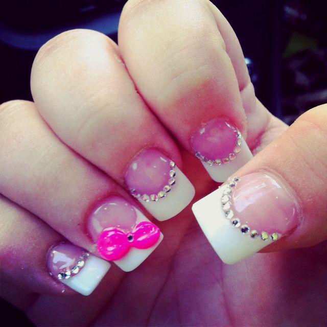My nails! #bows #bling #nails
