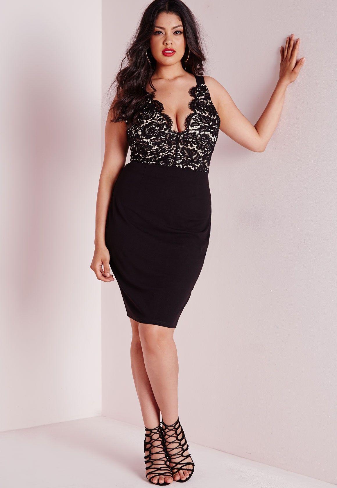 Missguided Plus Size Lace Plunge Midi Dress Black Plus Size Outfits Fashion Formal Dresses Curvy [ 1680 x 1160 Pixel ]