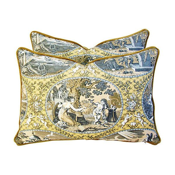 Pre-Owned Scalamandré Cupido Toile Pillows Pr (1,120 SAR) ❤ liked