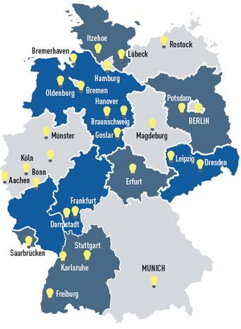 Locations of Fraunhofer Institutes in Germany Maps Pinterest