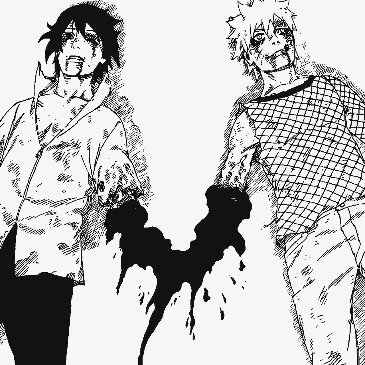 """""""The tale of their friendship: And so they fought. And so they laughed. Friends. Before they knew it, they were inseperable.""""  Naruto 698"""