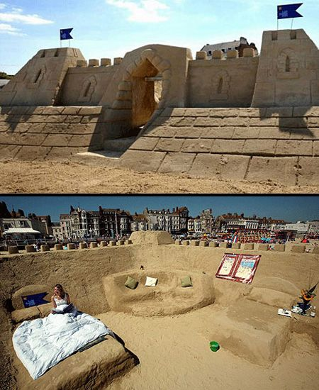 The World S Largest And Only Sand Castle Hotel Made Entirely Of On Weymouth Beach In Dorset Uk