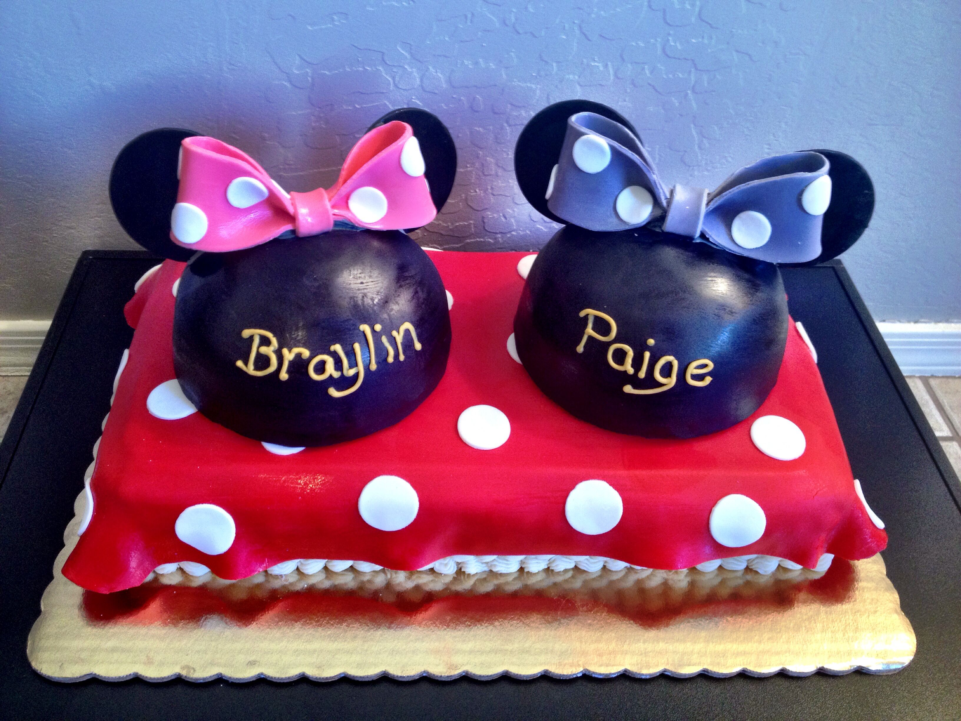 Minnie Mouse birthday cake For twins Disney cake Cakes by