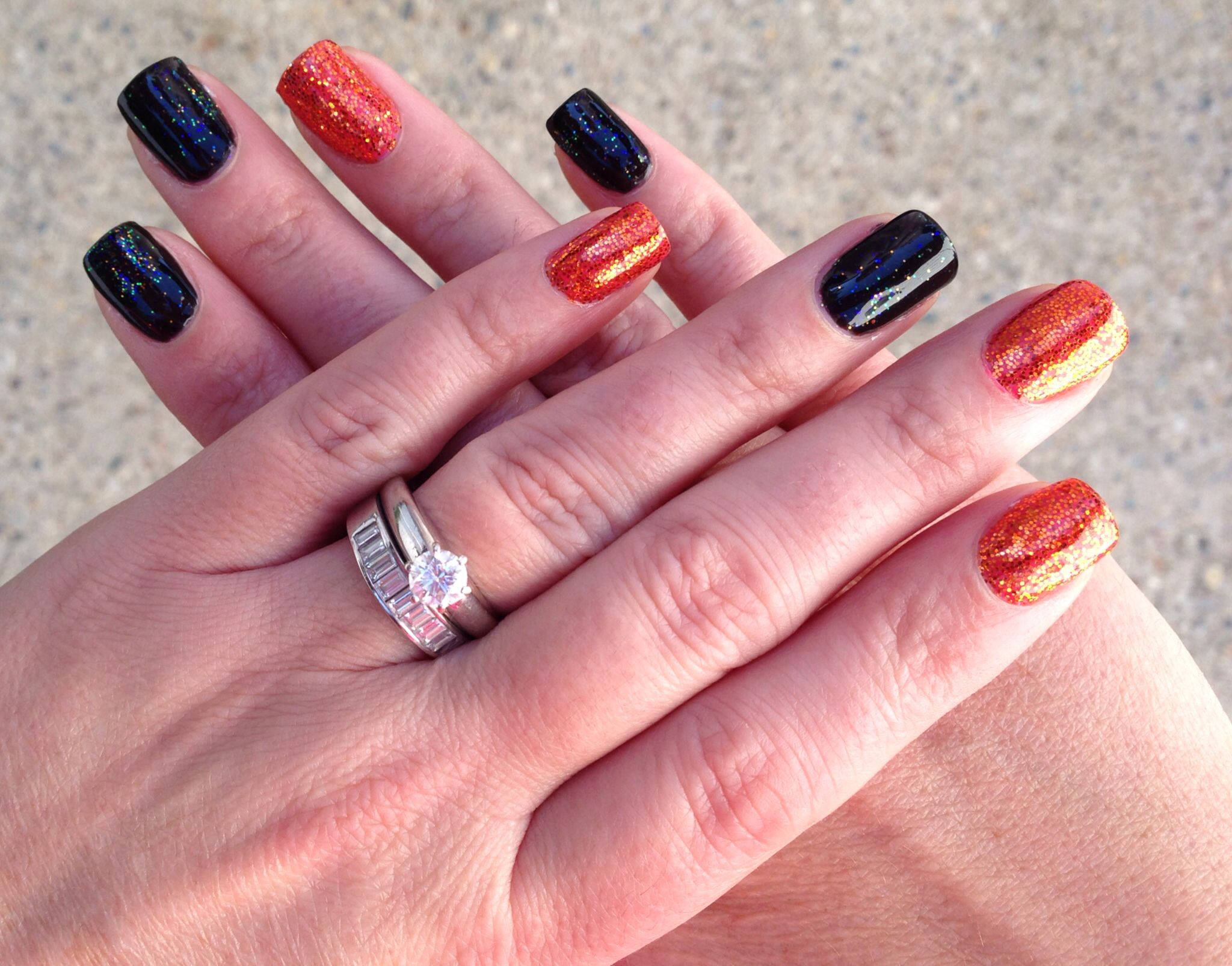 Halloween theme nails: black pool color with iridescent ...