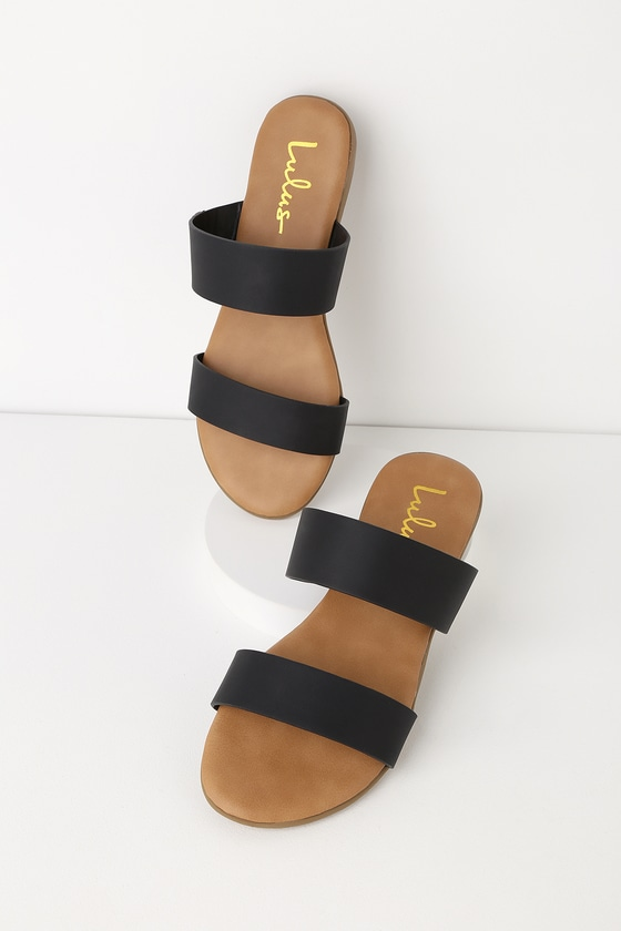 Oona Black Slide Sandals | Sandals