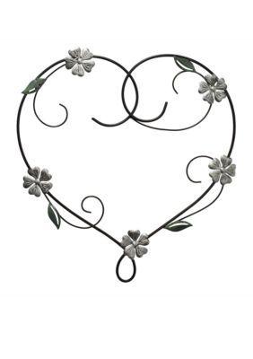 Fetco Home Decor  Doris Heart with Flowers Metal Wall Art