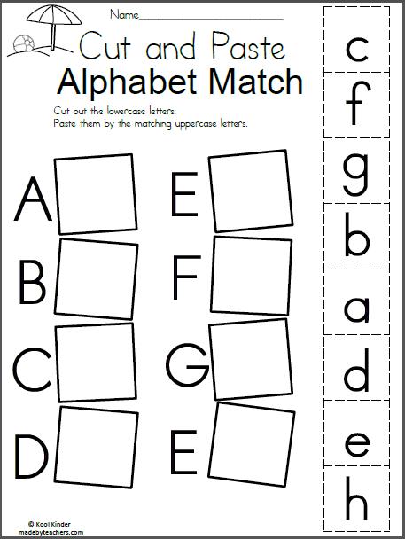 Summer Alphabet Match - Cut and Paste | Kindergarten ...