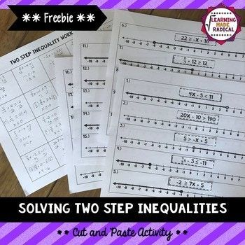 Solving Two Step Inequalities Cut and Paste Activity. | Activities ...