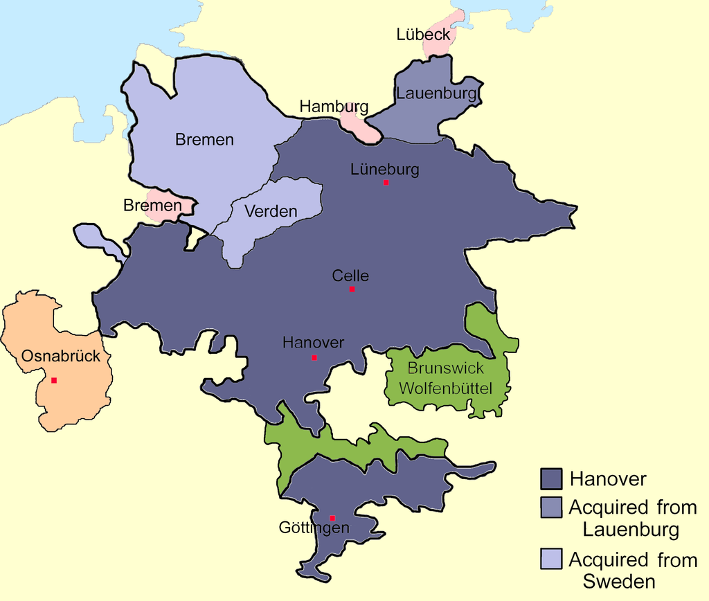 Sketch map of Hanover c1720 showing the relative locations of