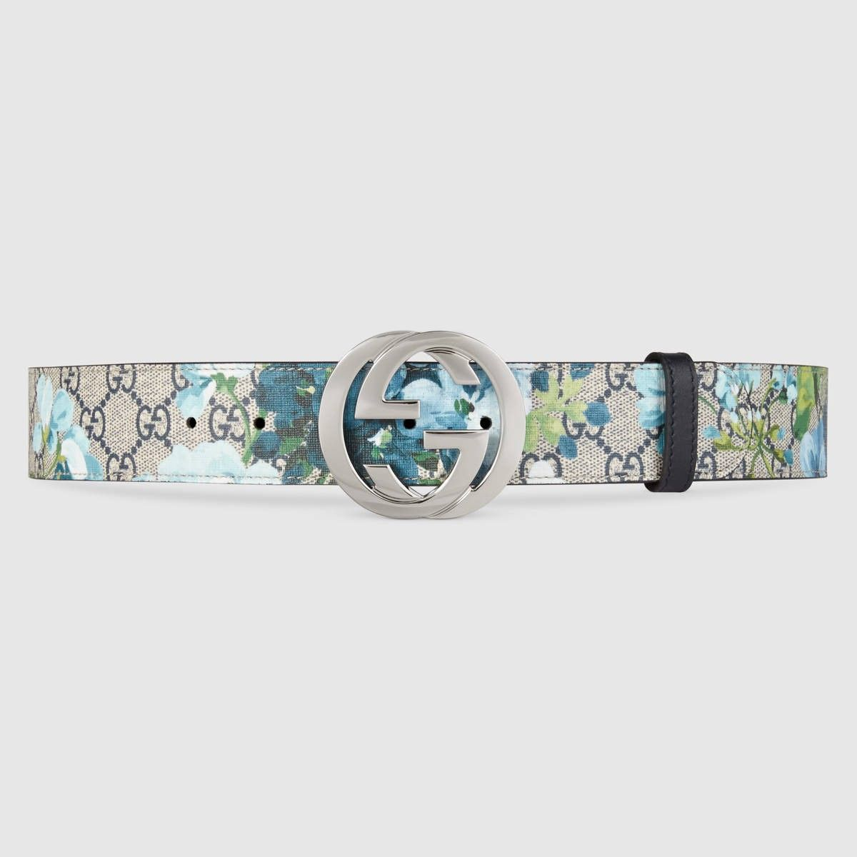 ea22314e3b1 GUCCI GG Blooms belt with G buckle - blue Blooms print.  gucci ...