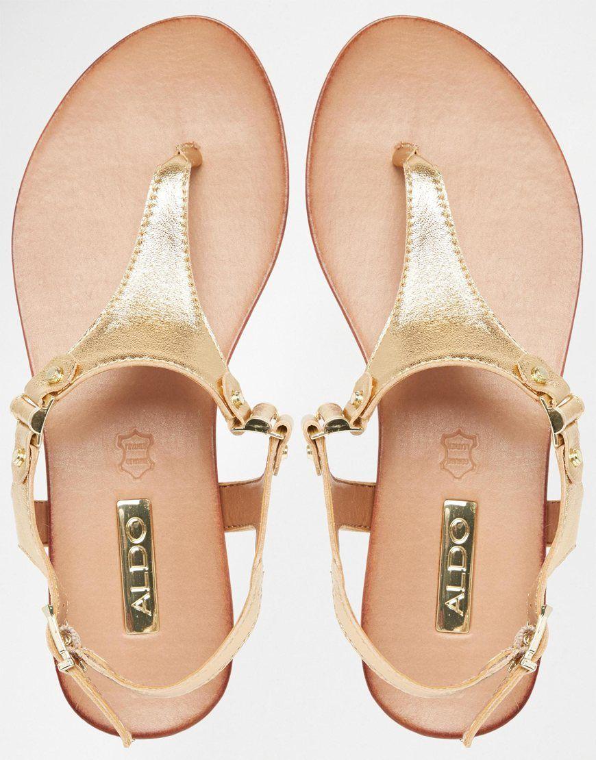 f2493fd34 ALDO Ashley Gold Ankle Fastener Thong Sandals  65.00