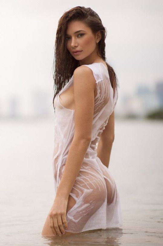 Asian girls in wet clothing