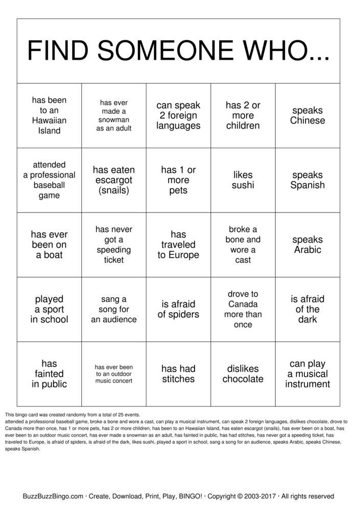 Getting To Know You Bingo Card  Reunion    Buzzword
