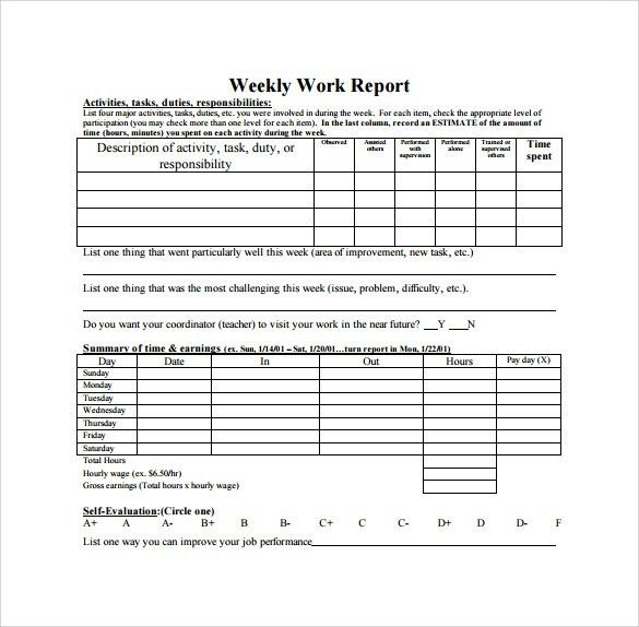 Weekly Report Template Editable Management Otherly SampleResume WeeklyReportTemplate
