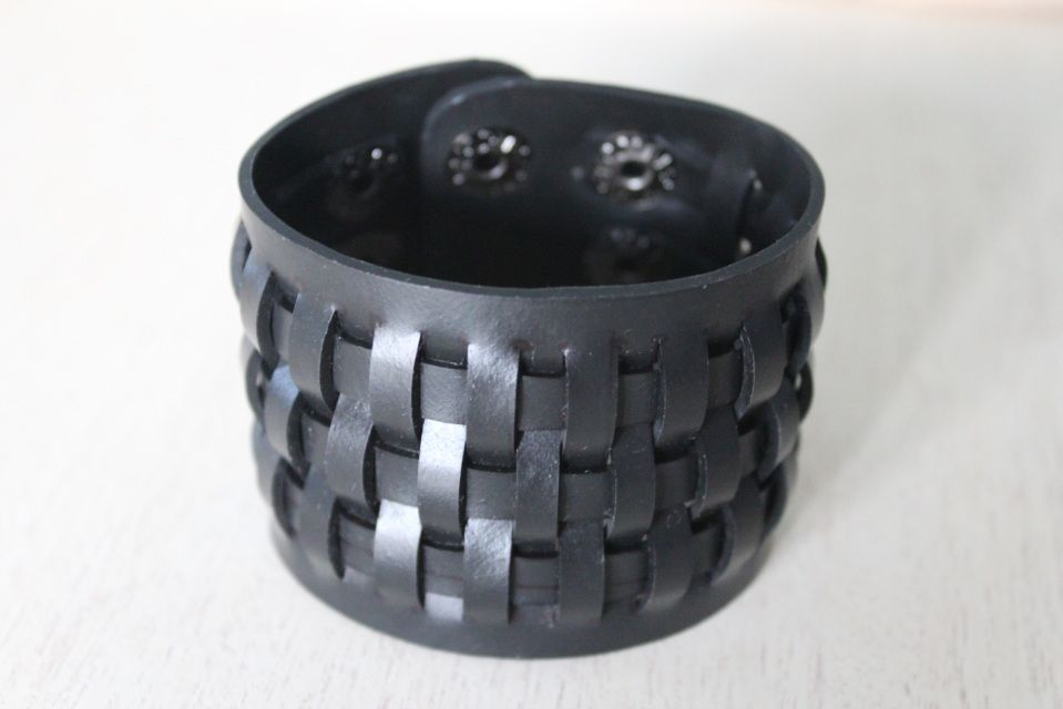 Weave Bracelet - this unique bold piece is equally sexy on men and women. It is handmade from 100% recycled inner tubes which makes it completely Earth friendly.   www.chicmc.com  #WearTheChange