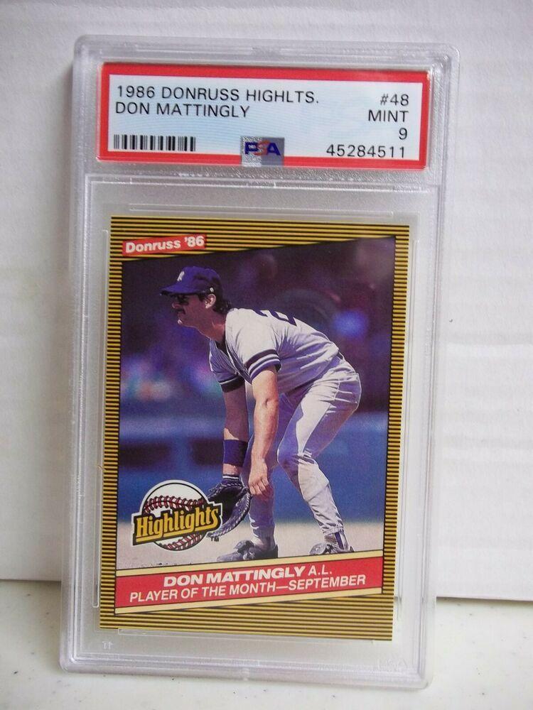 1986 Donruss Highlights Don Mattingly PSA Mint 9 Card 48
