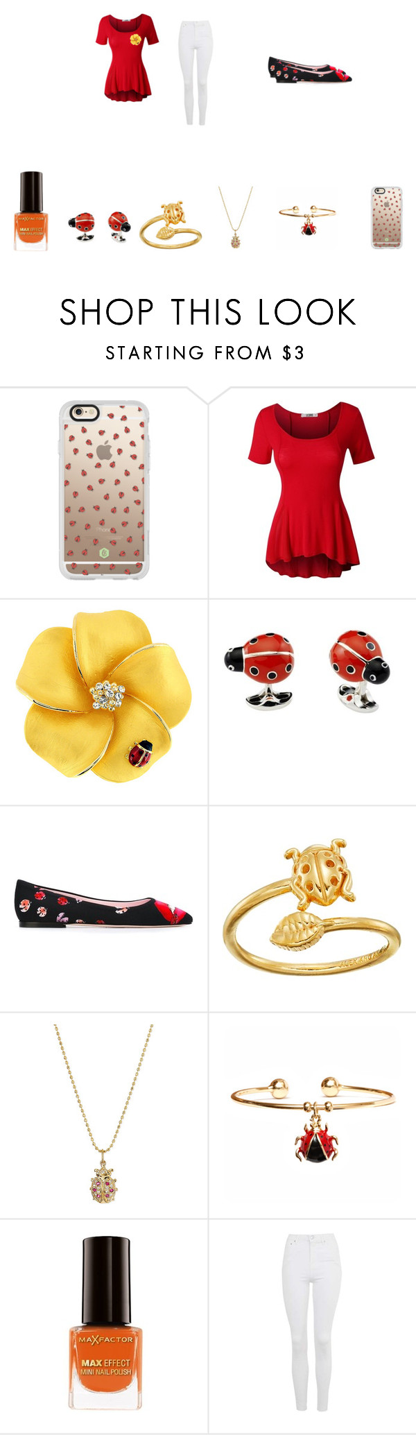 """The Lady, BUG!"" by puppycat0107 on Polyvore featuring Casetify, LE3NO, Giamba, Alex and Ani, Sydney Evan, Peermont, Max Factor and Topshop"