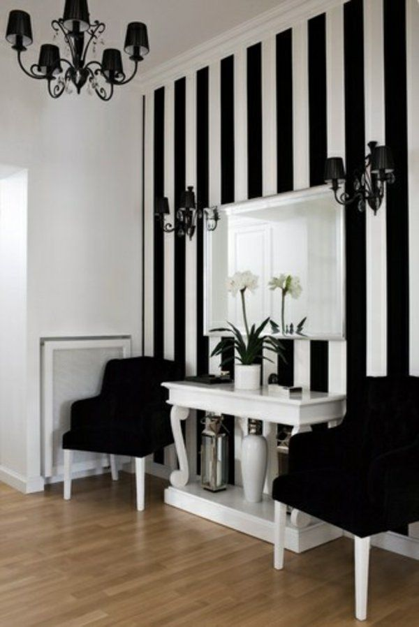 Black And White Striped Accent Wall. How Classy Nice Design